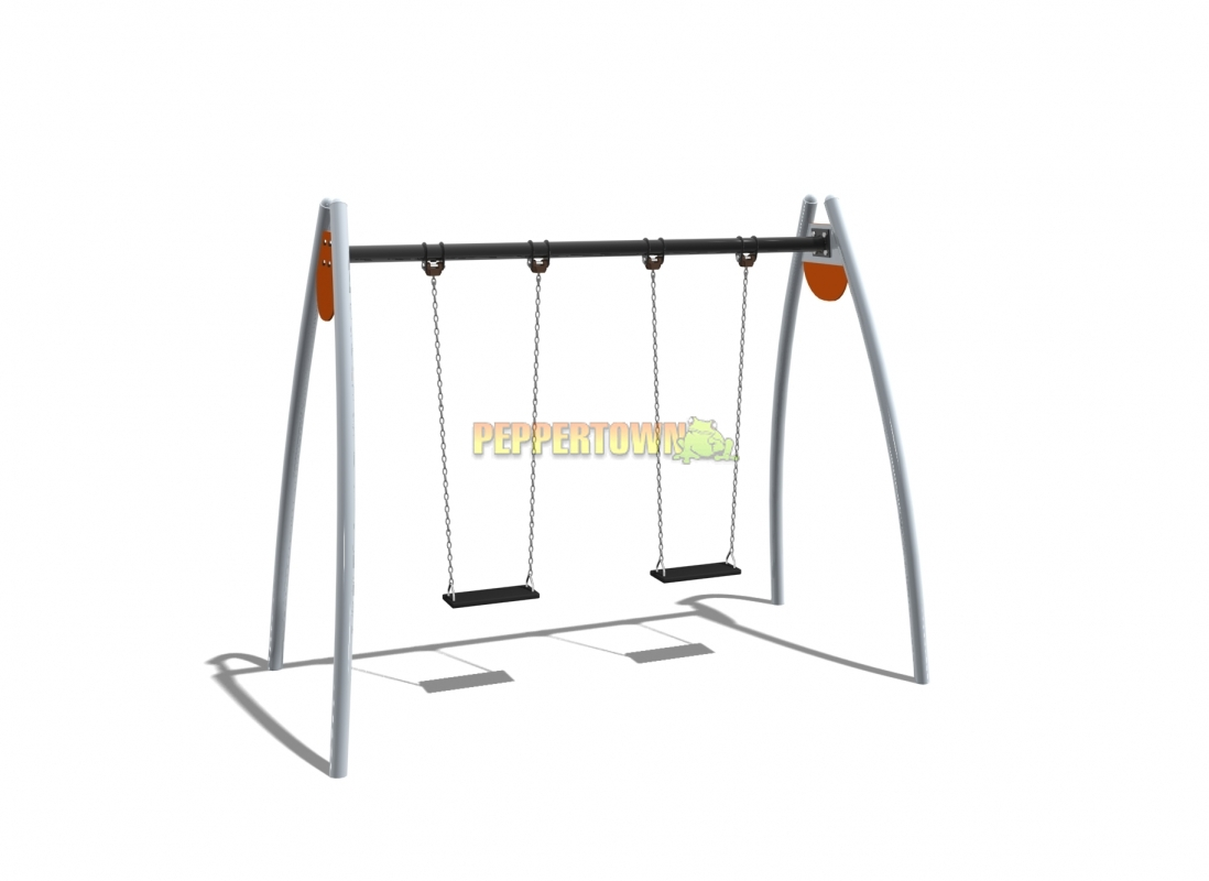 Steel swing frame with flat commercial rubber swings by for Swing set frame only