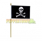Skull Flag on a Stick - 12 inch by 18 inch