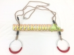 Woodpecker Wooden Trapeze with Metal Rings on BROWN Rope